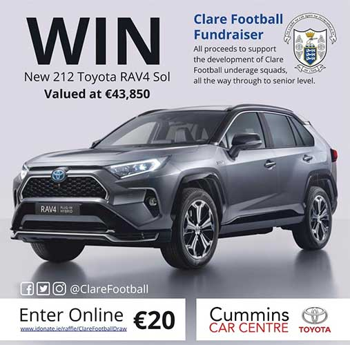 Win A RAV4 Sol while supporting Clare Football development