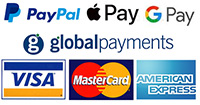 Securely Process Transaction by Realex Payments, Paypal Payments, Google Pay, Visa Card Credit and Debit, Mastercard and American Express